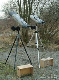 Fujinon 150mm auf ICS-Montierung, links Gitzo Systematic, rechts ICS-Stativ